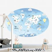 Painel Adesivo Mapa Mundi Infantil