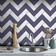 Papel de Parede Azulejo para Cozinha Chevron - Várias Cores
