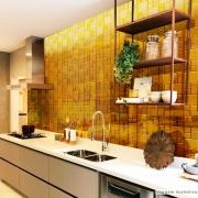 Papel de Parede Lavavel para Cozinha Revestimento Brilho Pastilha Metálica Bronze