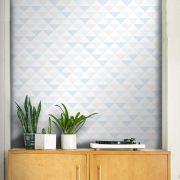Outlet - Papel de Parede Triângulo Clear Azul e Cinza 0,58 x 2,55m