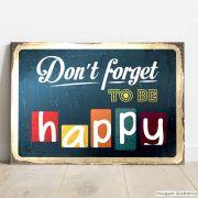 Placa Decorativa Metálica Happy