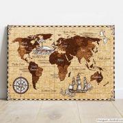 Placa Decorativa Metálica Mapa Antigo
