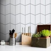 Promoção  - Papel de Parede Azulejo para Cozinha Tile Branco- Kit com 04 rolos