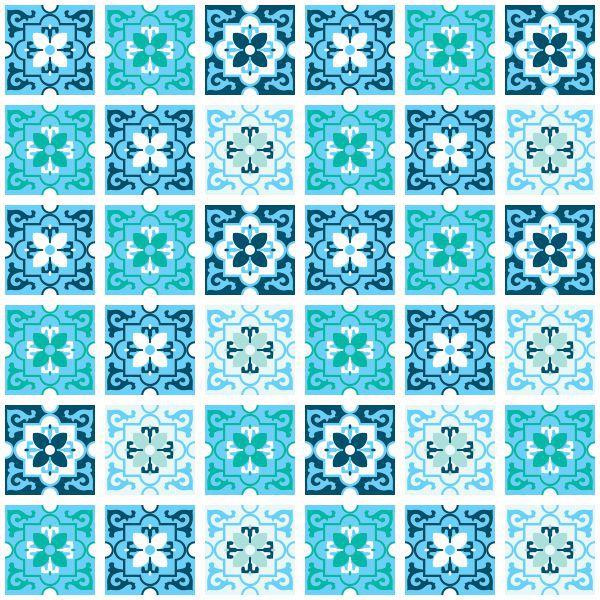 Adesivo Destacável Azulejo para Cozinha Berga Azul  - TaColado