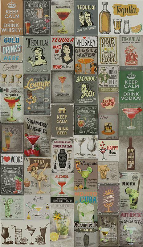 Papel de Parede Vintage Drinks  - TaColado