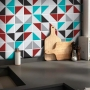 Adesivo Destacável Azulejo para Cozinha Retângulo Vermelho