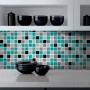 Adesivo Destacável Pastilha para Cozinha 3D Mix Turquesa