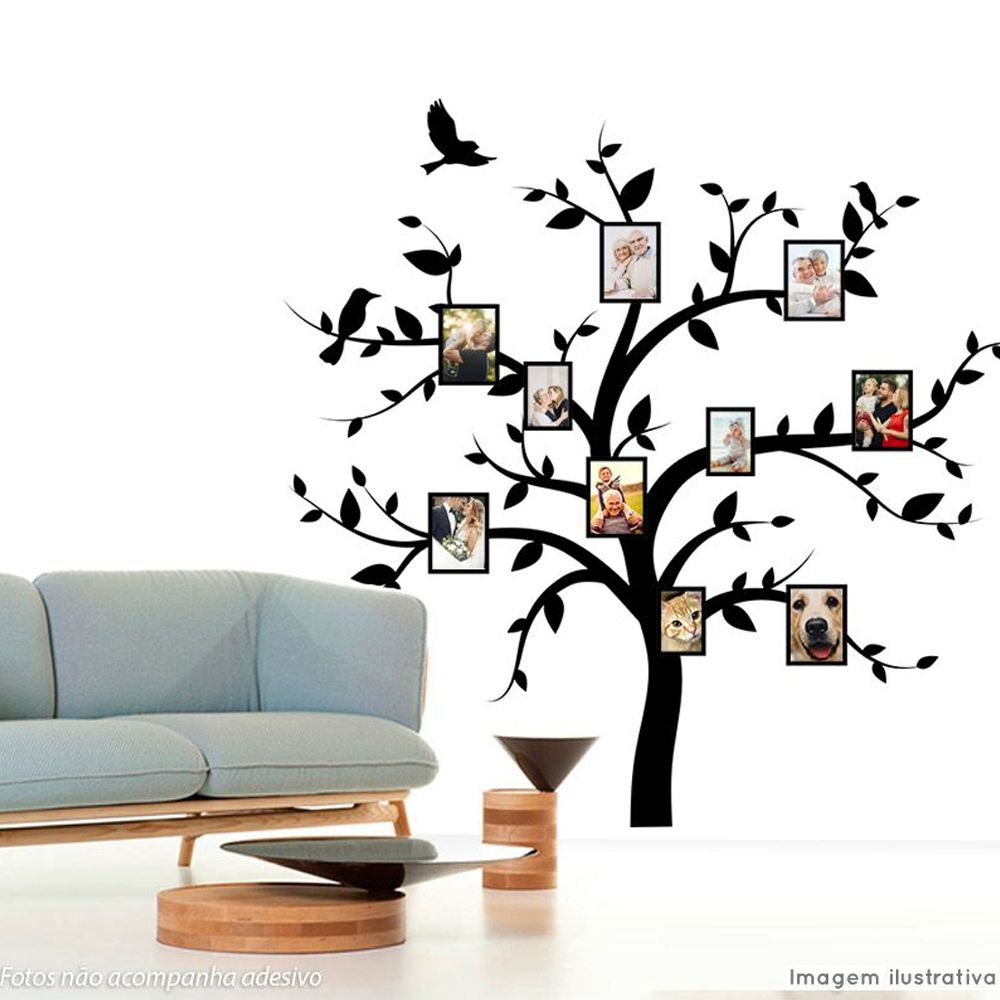 Adesivo Árvore Genealógica Preto e Branco  - TaColado