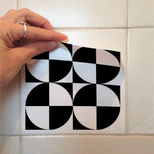 Adesivo Destacável Azulejo para Cozinha Átrio Preto  - TaColado