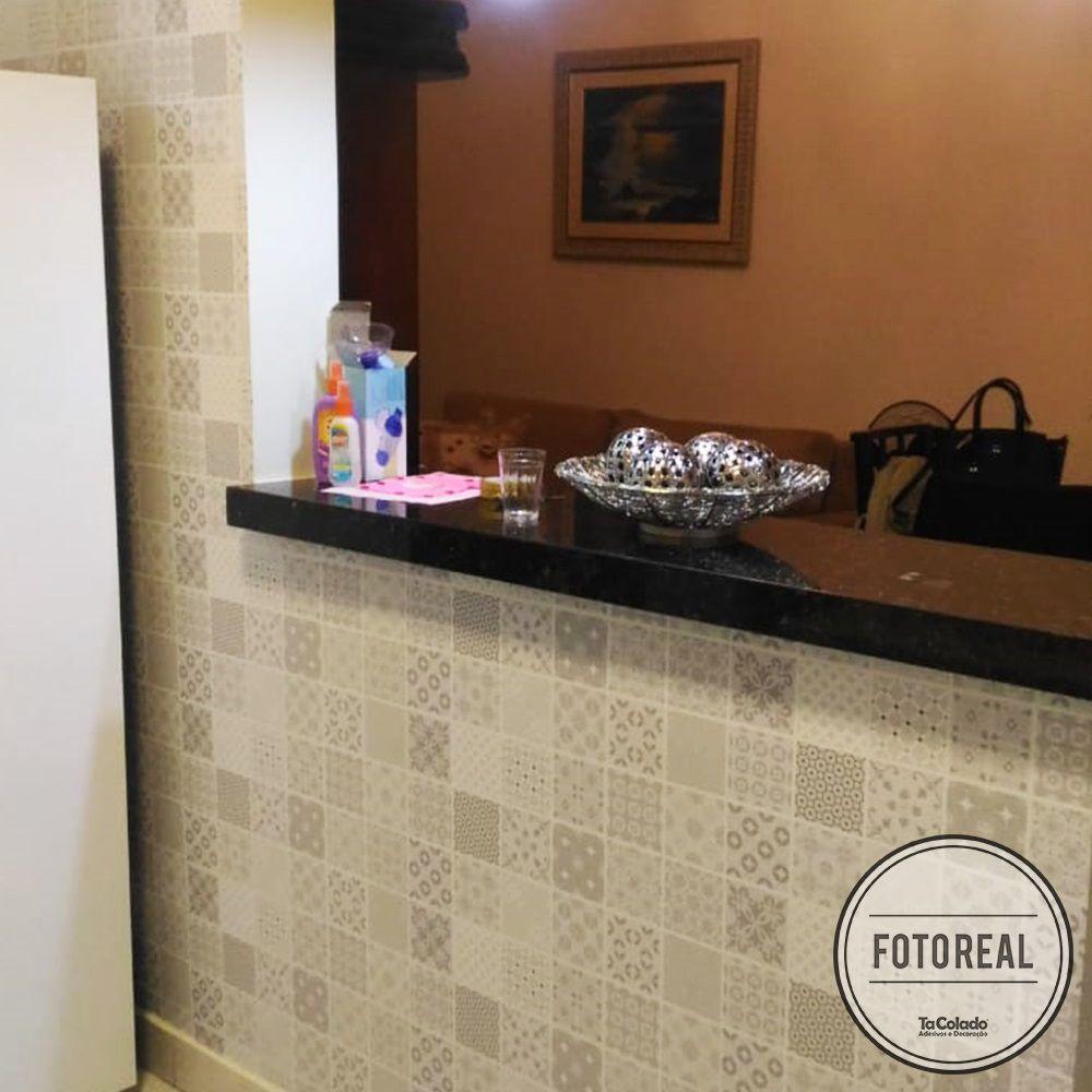 Adesivo Destacável Azulejo para Cozinha Aveiro Cinza Claro  - TaColado
