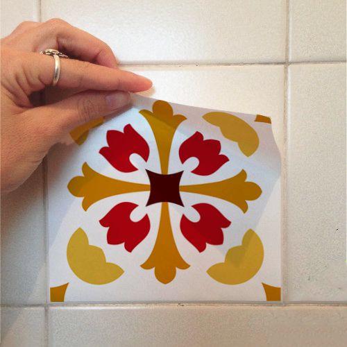 Adesivo Destacável Azulejo para Cozinha Badalona Laranja  - TaColado