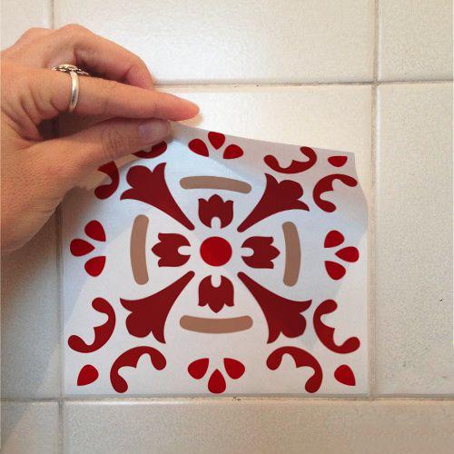 Adesivo Destacável Azulejo para Cozinha Badalona Vermelho  - TaColado