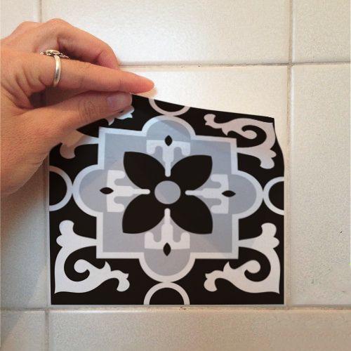 Adesivo Destacável Azulejo para Cozinha Berga Preto e Branco  - TaColado