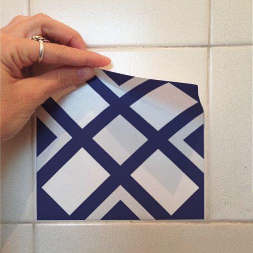 Adesivo Destacável Azulejo para Cozinha Bragança Azul Marinho  - TaColado