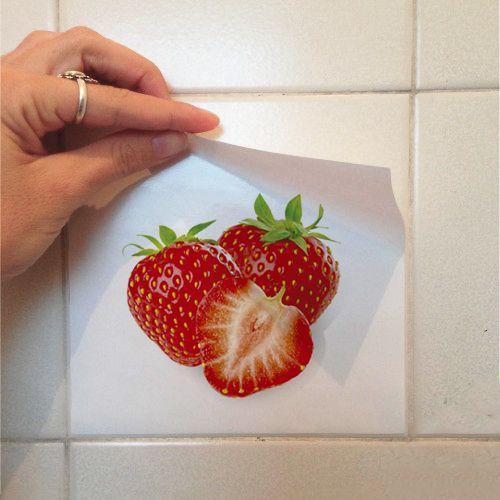 Adesivo Destacável Azulejo para Cozinha Frutas e Verduras  - TaColado
