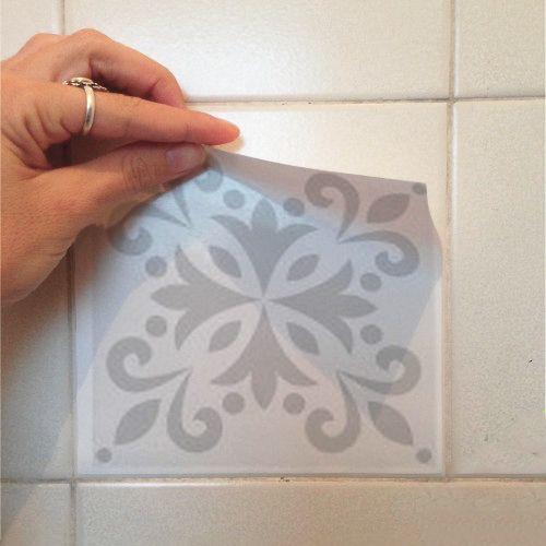 Promoção - Adesivo Destacável Azulejo para Cozinha Aveiro Cinza Claro 20x20cm  - TaColado
