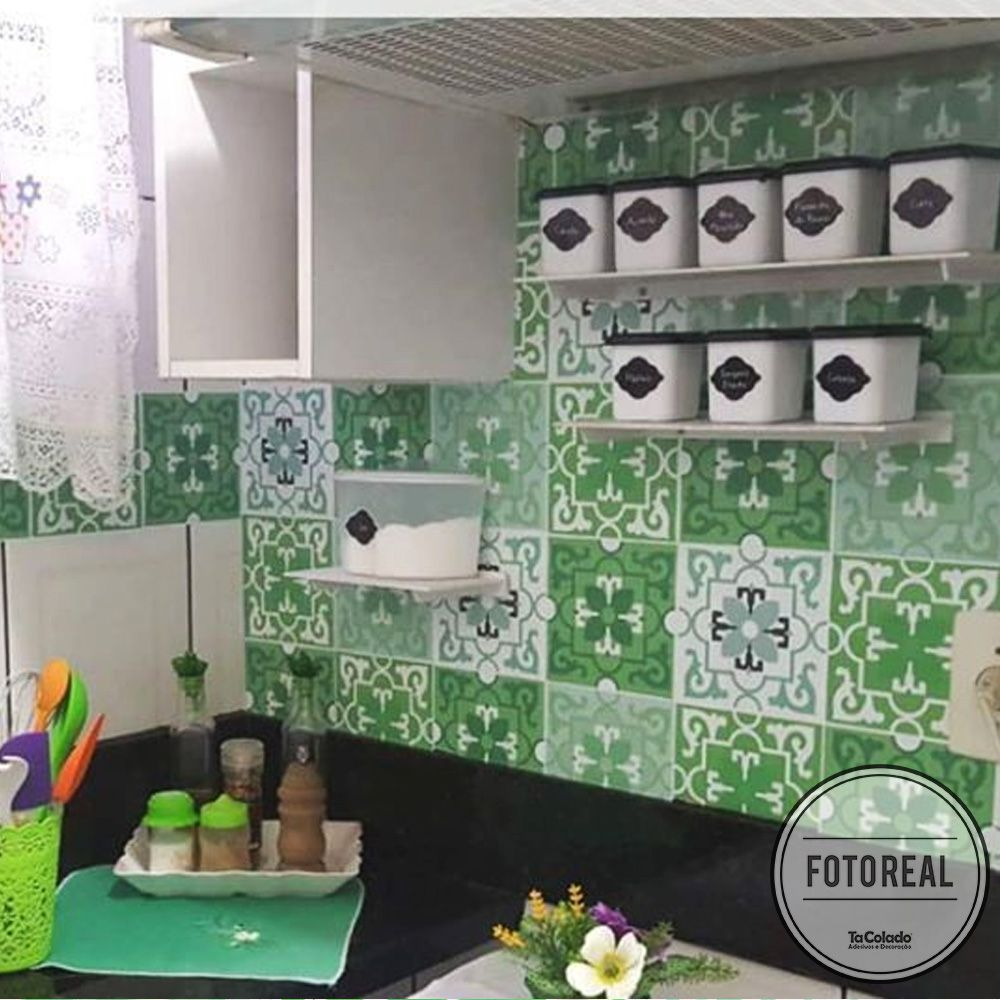 Adesivo Destacável Azulejo para Cozinha Berga Verde  - TaColado