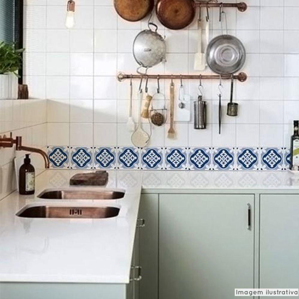 Adesivo Destacável Azulejo para Cozinha Blanes Azul  - TaColado