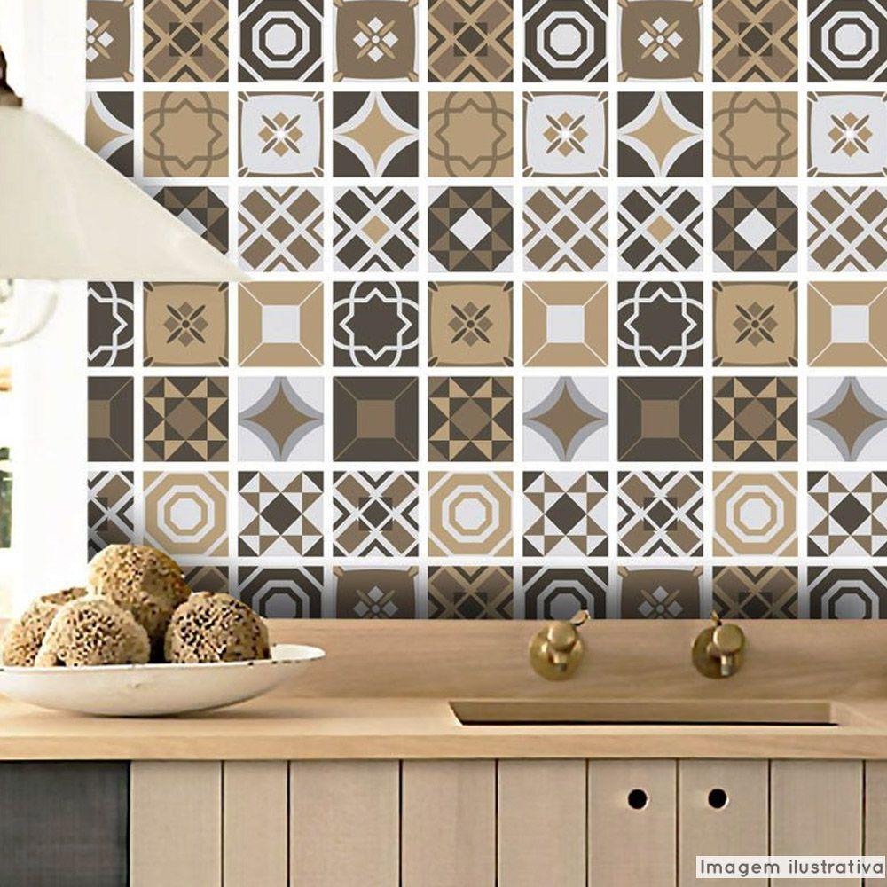 Adesivo Destacável Azulejo para Cozinha Bragança Marrom  - TaColado