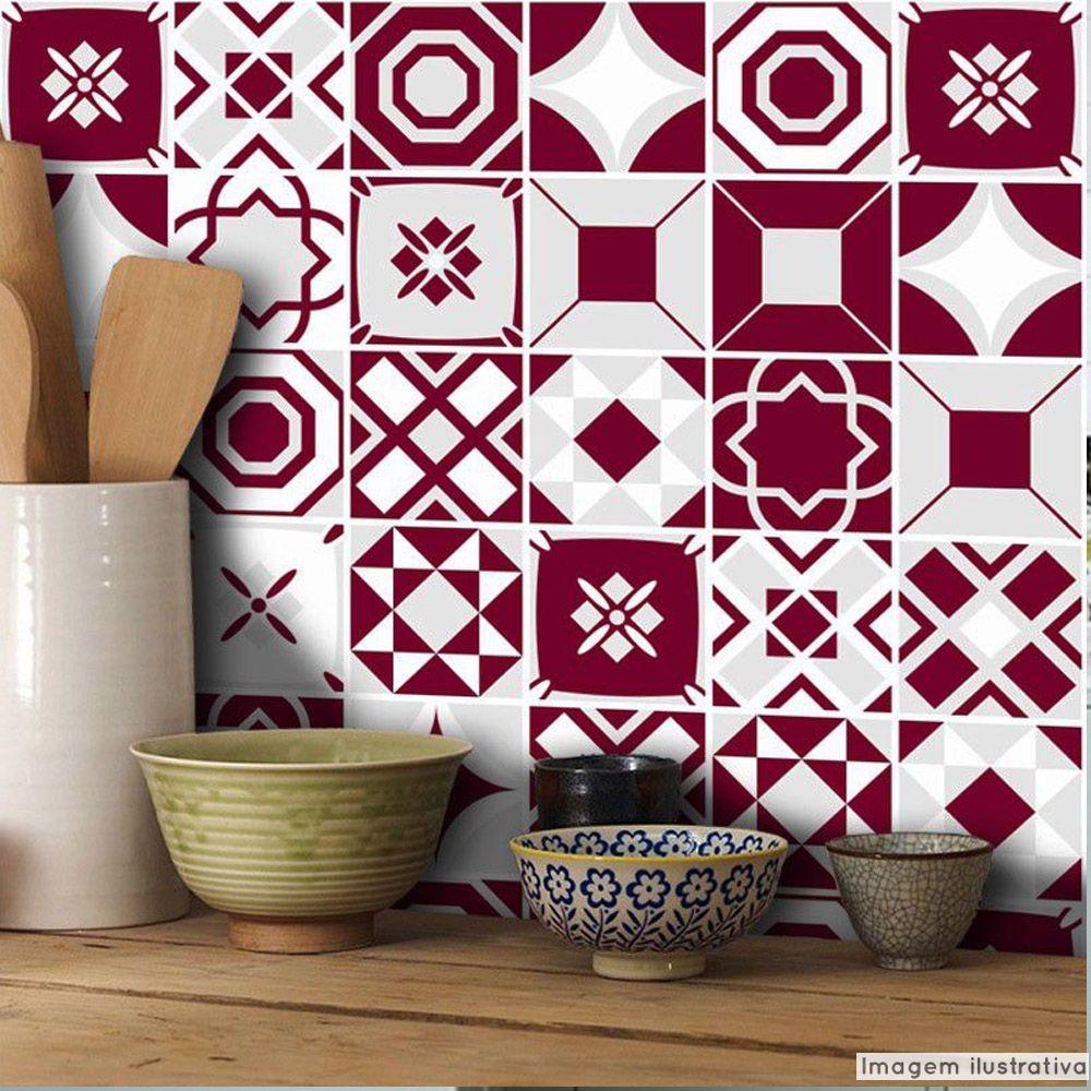 Adesivo Destacável Azulejo para Cozinha Bragança Vinho  - TaColado