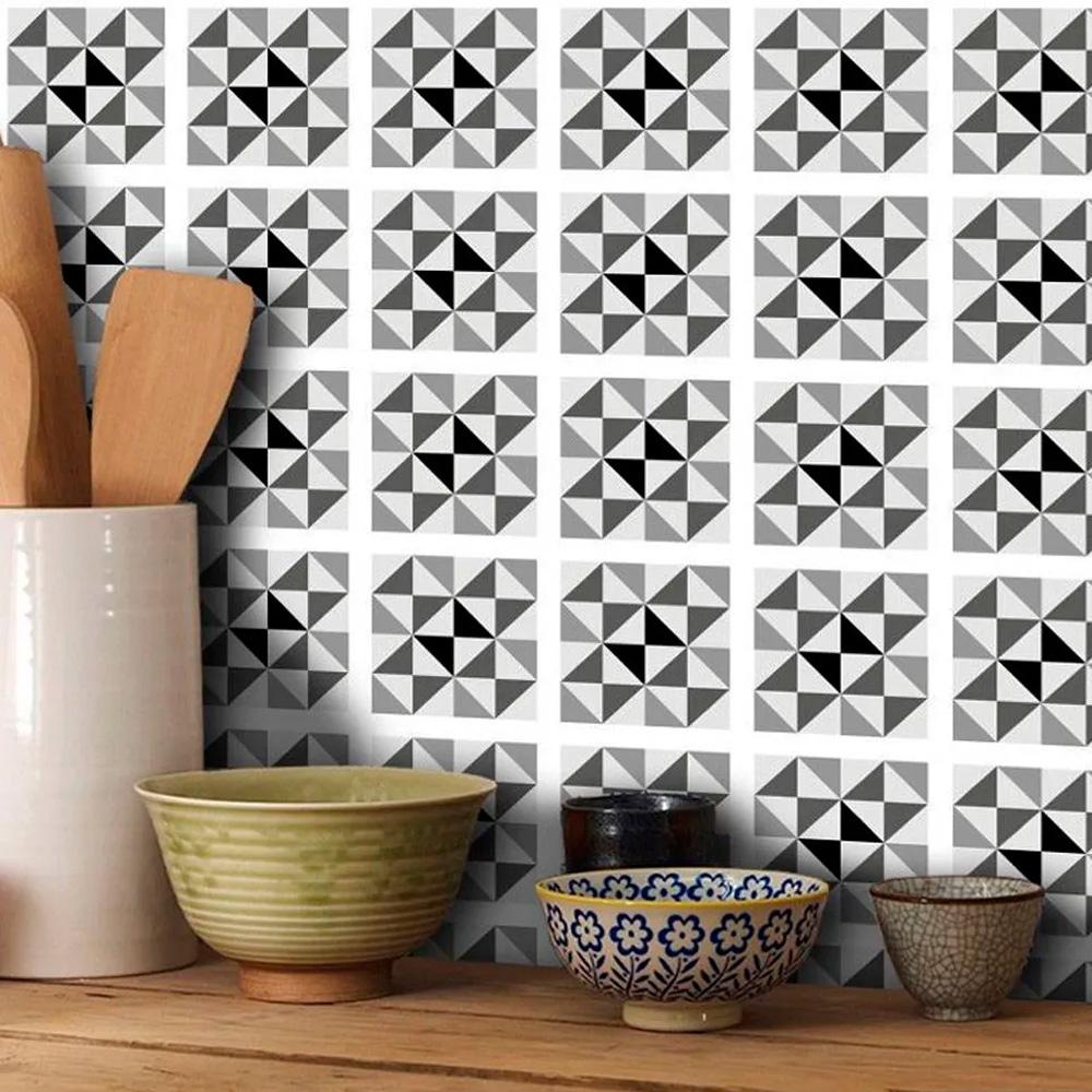 Adesivo Destacável Azulejo para Cozinha Delta Preto  - TaColado