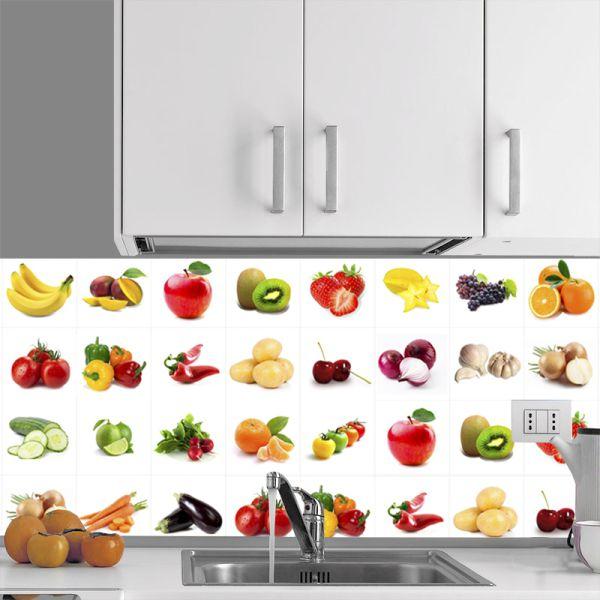 Promoção - Adesivo Destacável Azulejo para Cozinha Frutas e Verduras 10x10cm  - TaColado