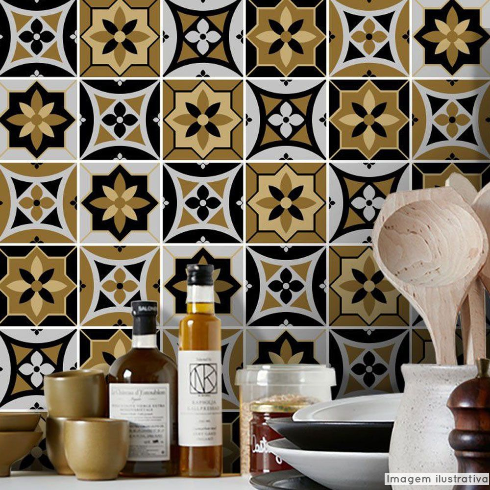 Adesivo Destacável Azulejo para Cozinha Funchal  - TaColado