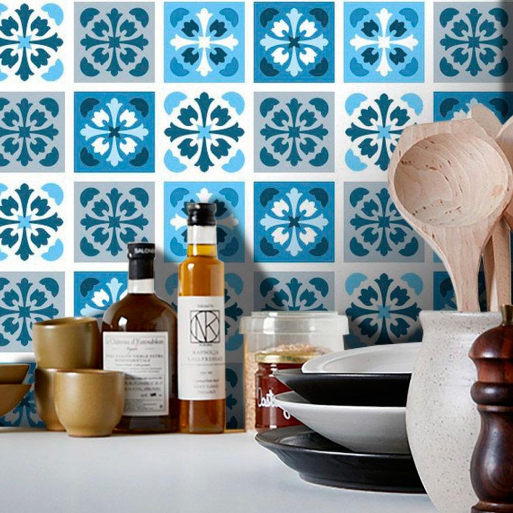 Adesivo Destacável Azulejo para Cozinha Manresa Azul  - TaColado