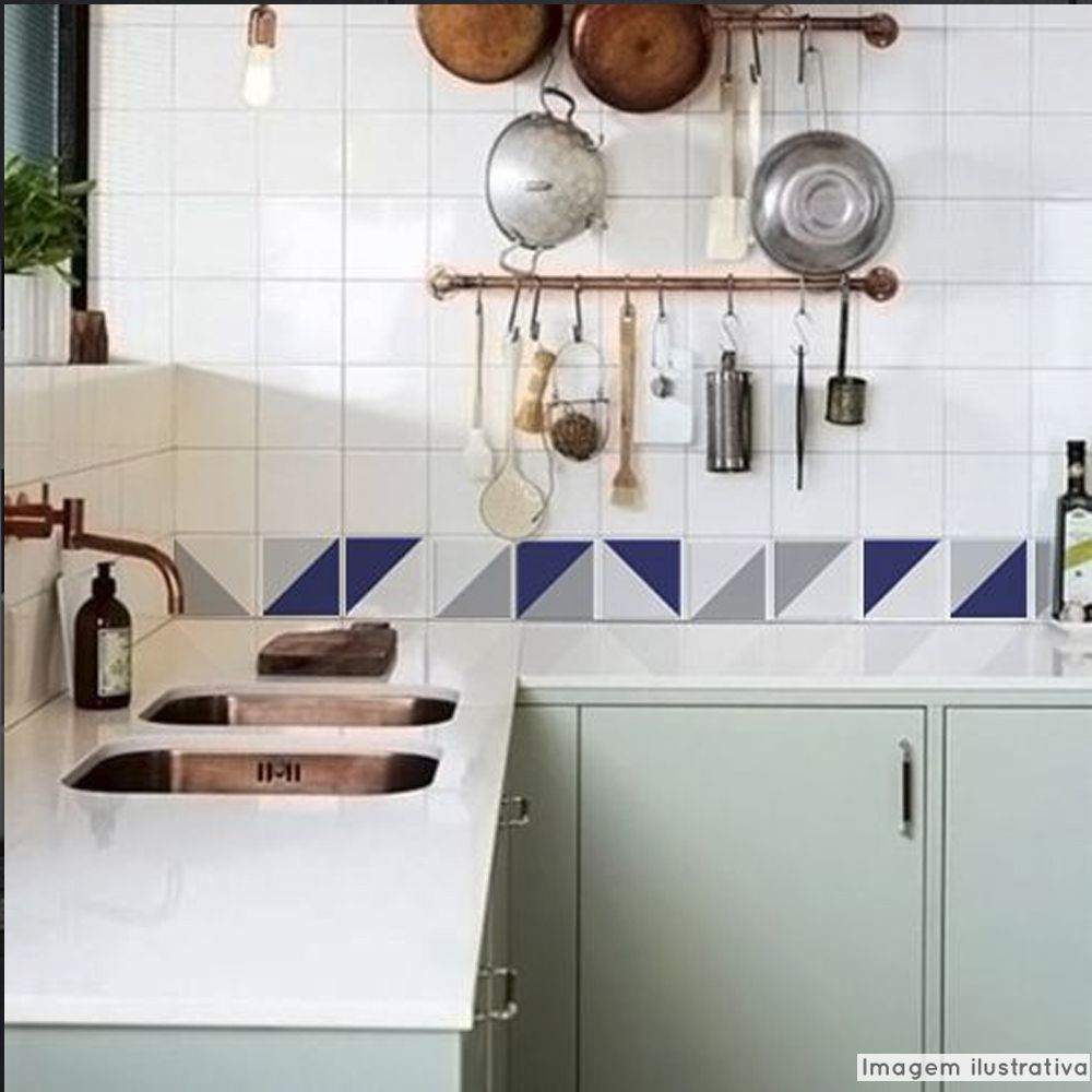 Adesivo Destacável Azulejo para Cozinha Retângulo Azul  - TaColado