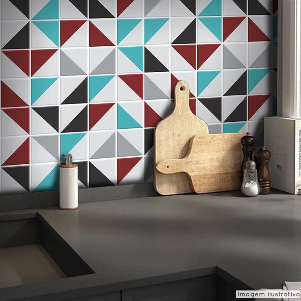 Adesivo Destacável Azulejo para Cozinha Retângulo Vermelho  - TaColado
