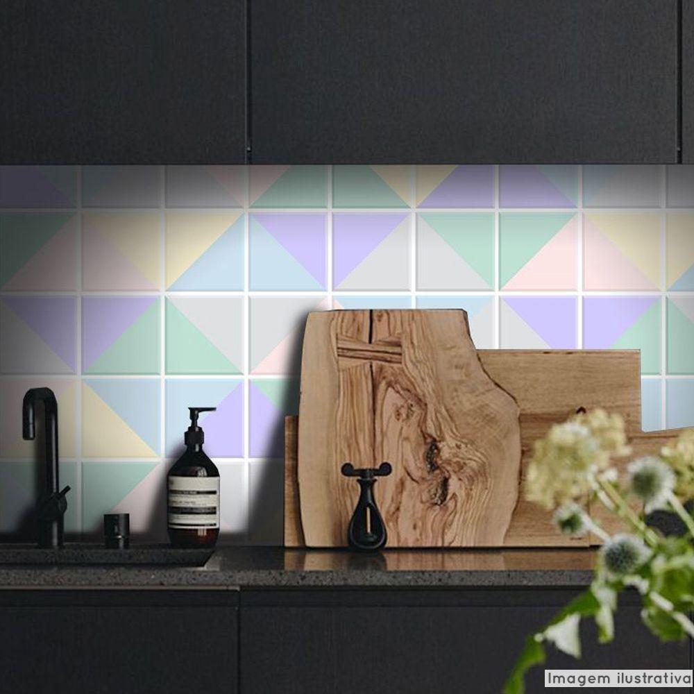 Adesivo Destacável Azulejo para Cozinha Triângulo Clear  - TaColado