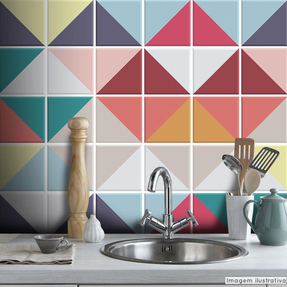 Adesivo Destacável Azulejo para Cozinha Triângulo Color  - TaColado