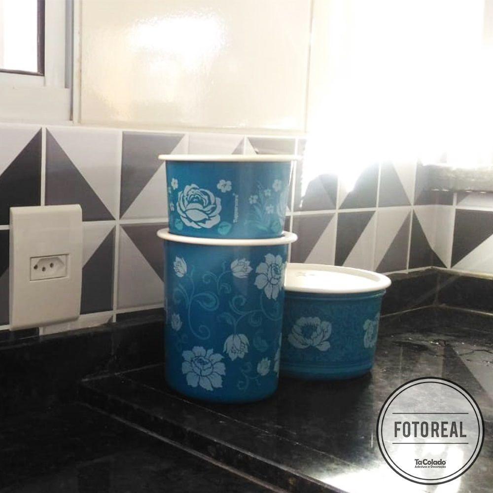 Adesivo Destacável Azulejo para Cozinha Retângulo Preto  - TaColado