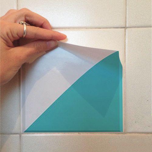 Adesivo Destacável Azulejo para Cozinha Retângulo Turquesa  - TaColado