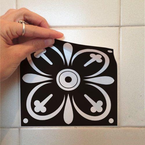Adesivo Destacável Azulejo para Cozinha Tortosa Preto e Branco  - TaColado