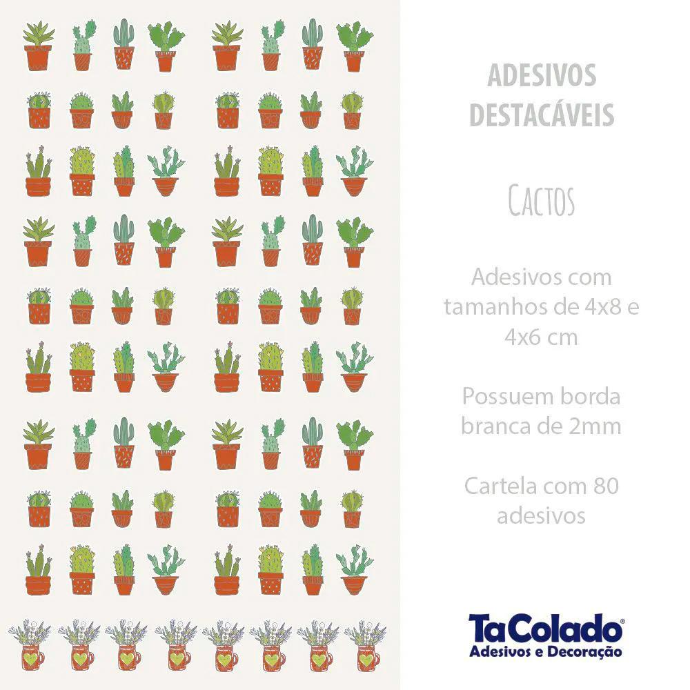Adesivo Destacável Cactos - Várias Cores  - TaColado