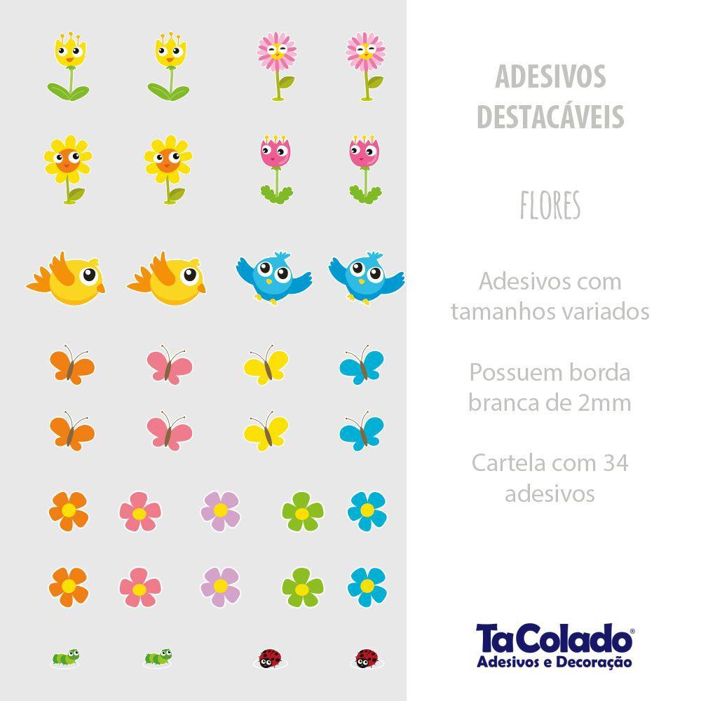 Adesivo Destacável Flores  - TaColado