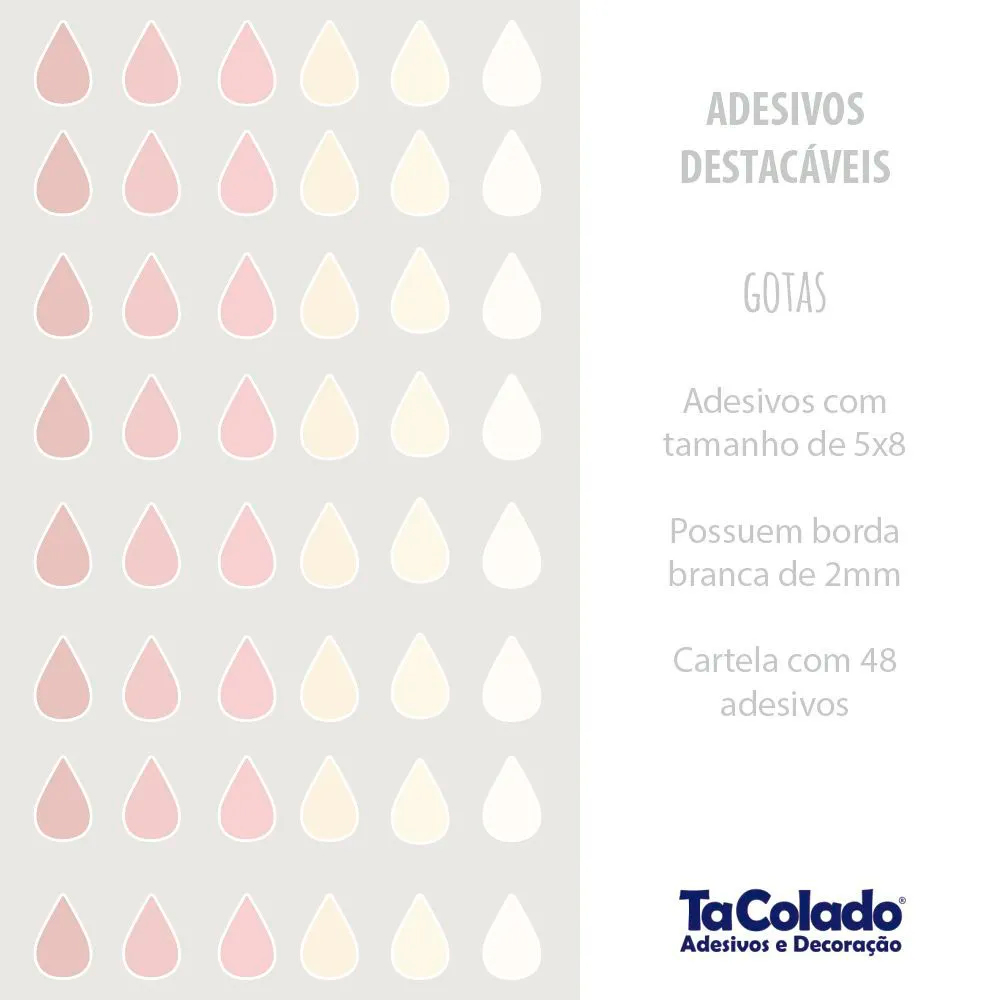 Adesivo Destacável Gotas - Várias Cores  - TaColado