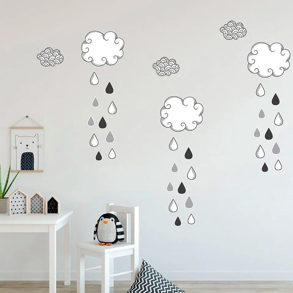 Adesivo Destacável Nuvens com Gotas - Várias Cores  - TaColado