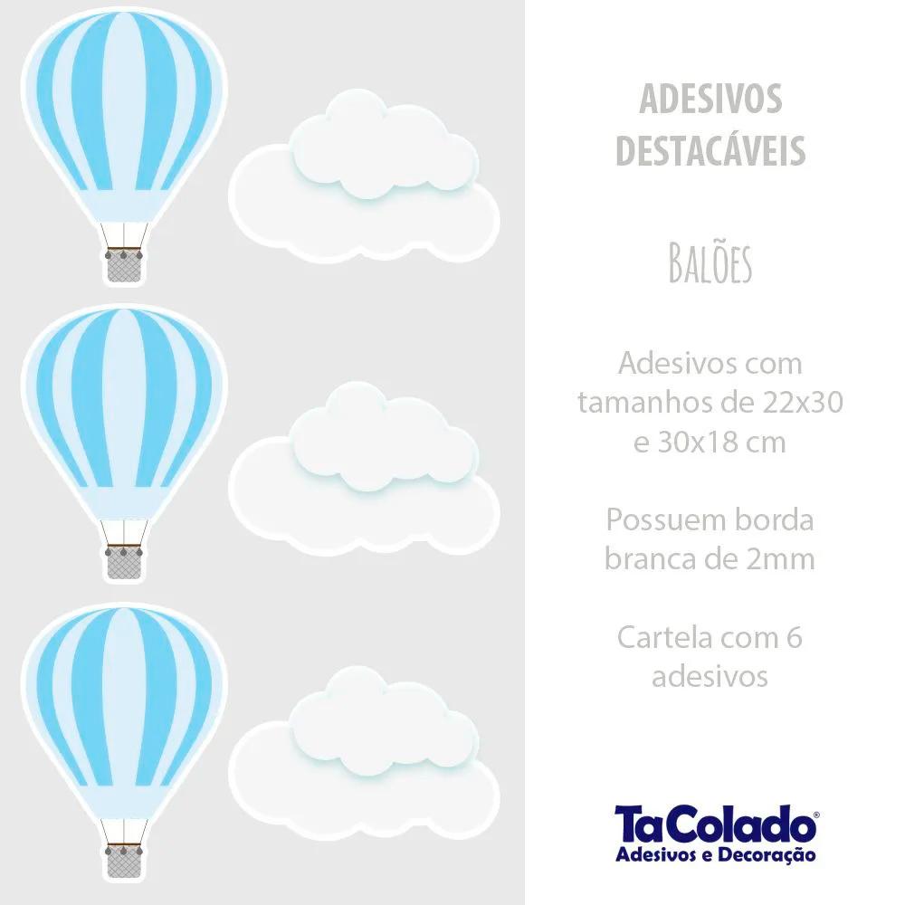 Adesivo Destacável Nuvens e Balões - Várias Cores  - TaColado