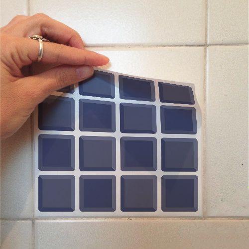 Adesivo Destacável Pastilha para Cozinha 3D Azul  - TaColado