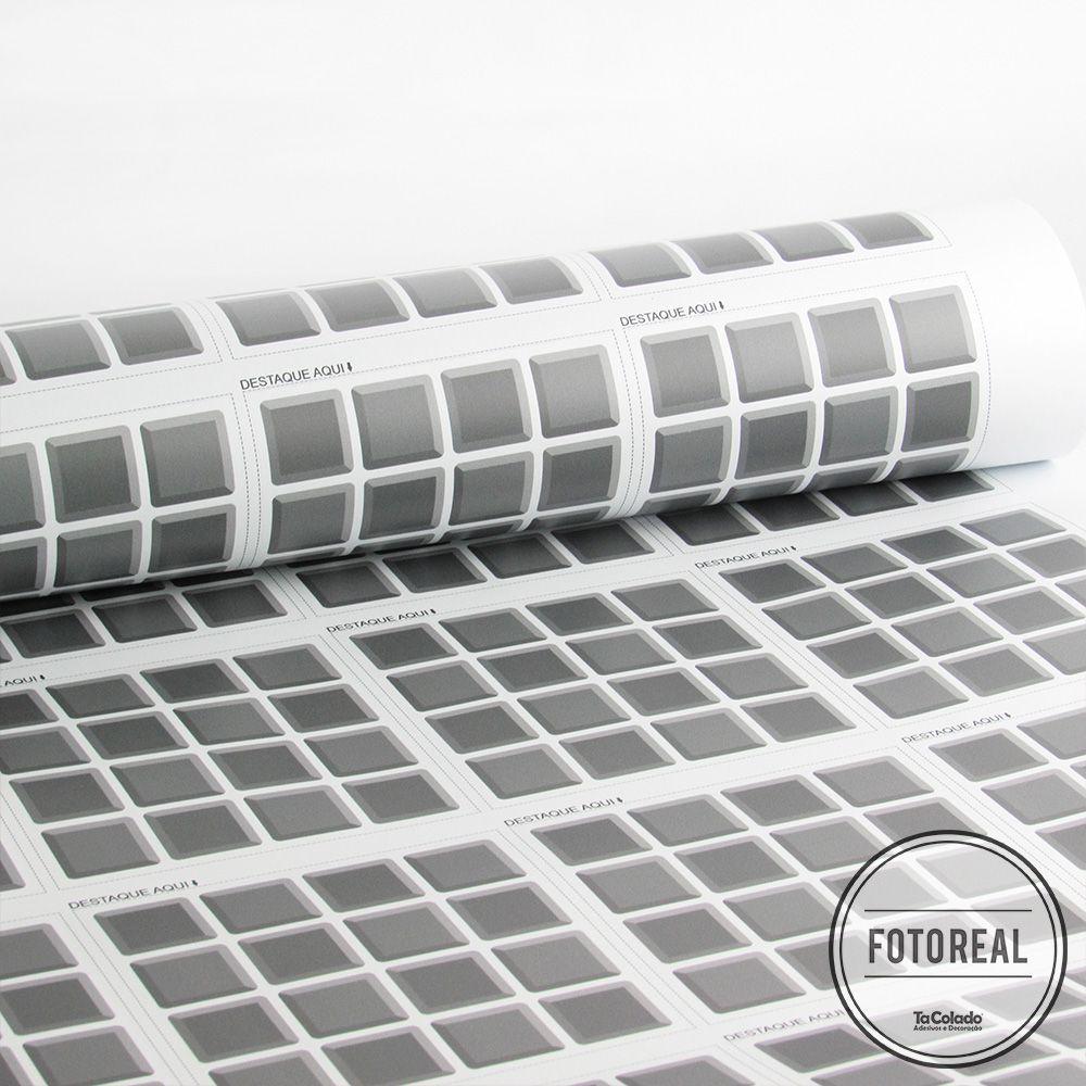 Adesivo Destacável Pastilha para Cozinha 3D Cinza  - TaColado