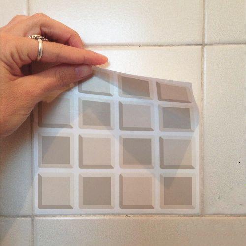 Adesivo Destacável Pastilha para Cozinha 3D Marrom  - TaColado
