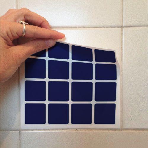 Adesivo Destacável Pastilha para Cozinha Clássica Azul Marinho  - TaColado