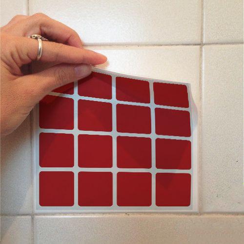 Adesivo Destacável Pastilha para Cozinha Clássica Vermelho  - TaColado