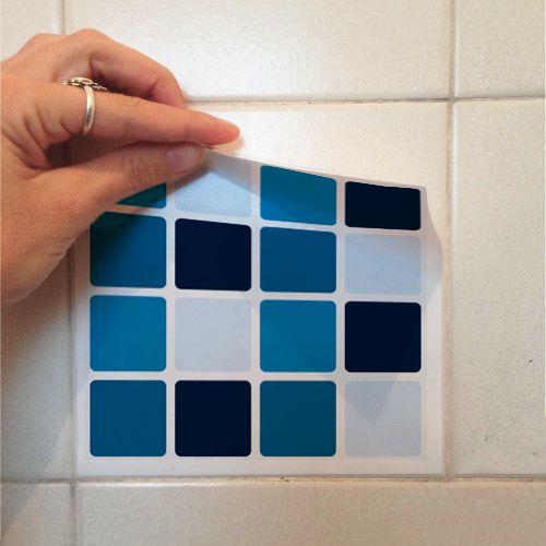 Adesivo Destacável Pastilha para Cozinha Mix Azul  - TaColado