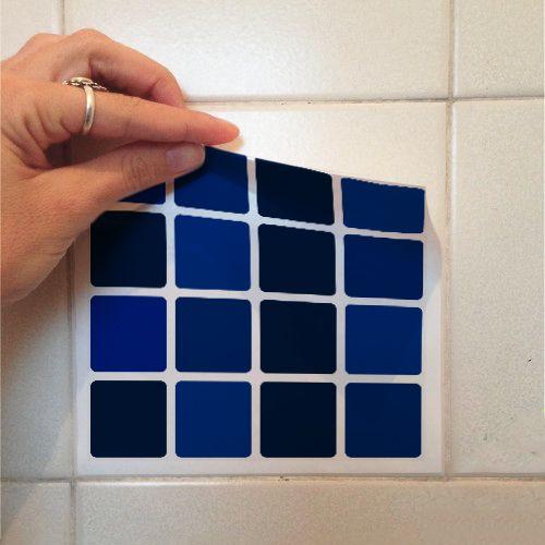 Adesivo Destacável Pastilha para Cozinha Mix Azul Marinho  - TaColado