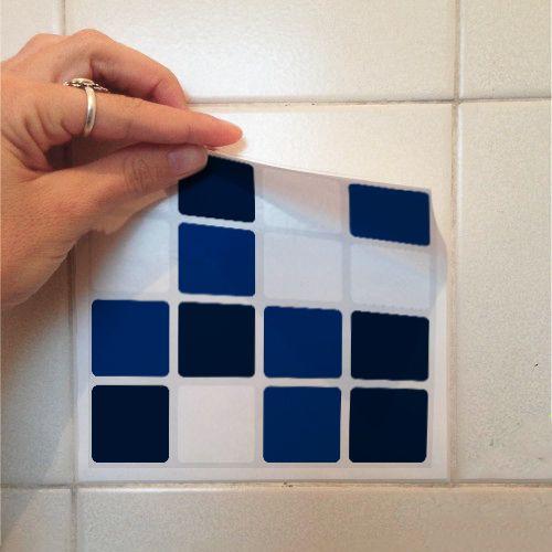 Adesivo Destacável Pastilha para Cozinha Mix Branco e Azul Marinho  - TaColado