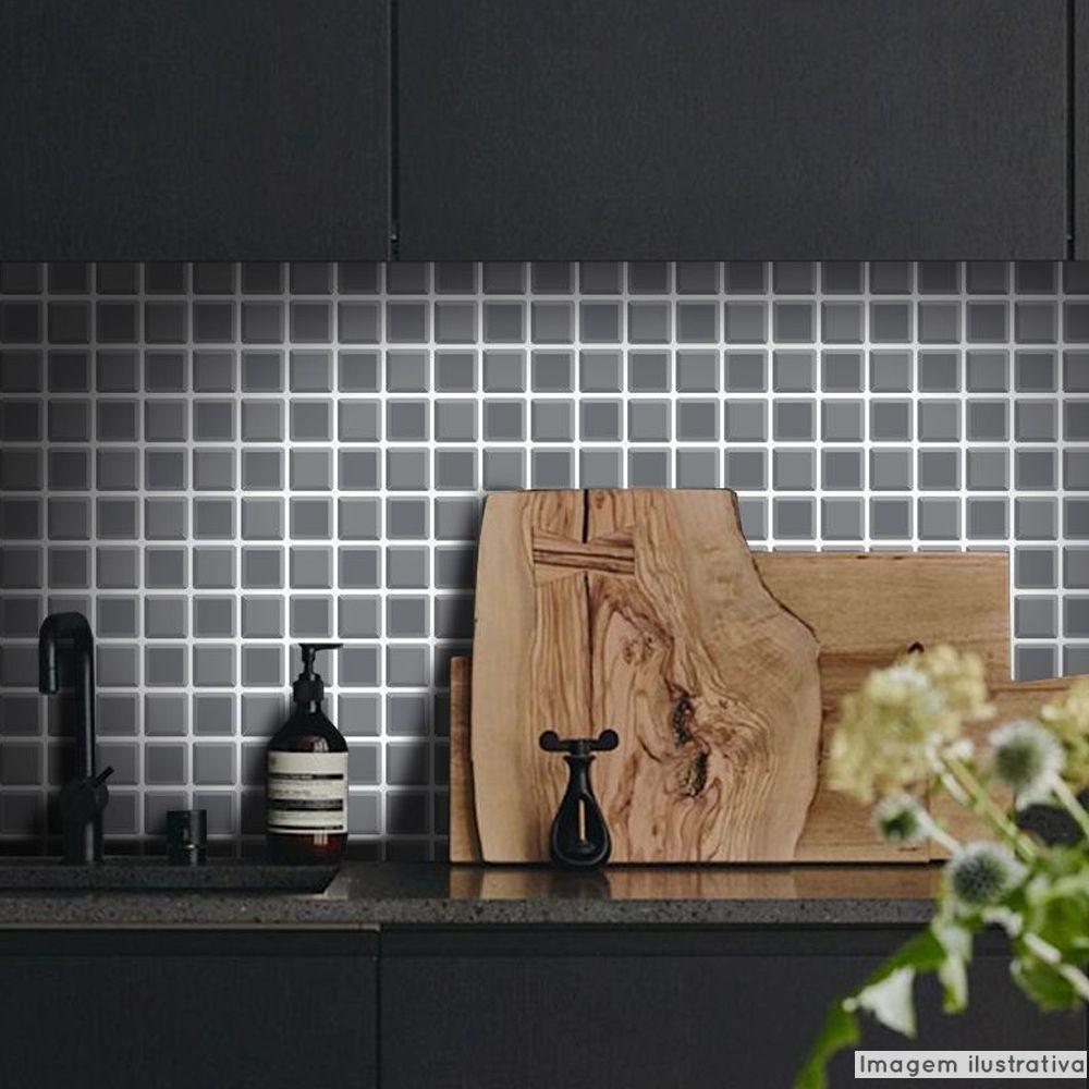 Adesivo Destacável Pastilha para Cozinha 3D Grafite  - TaColado