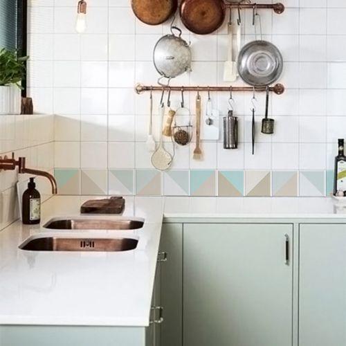 Queima de Estoque - Papel de Parede Azulejo para Cozinha Triângulo Atacama  - TaColado